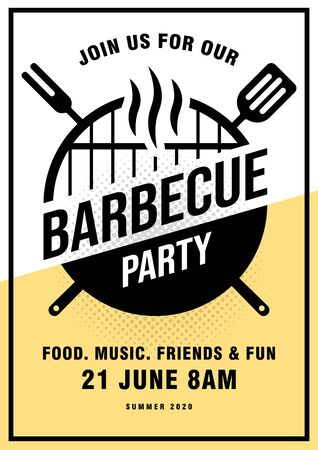 Lovely vector barbecue party invitation design template. Trendy BBQ cookout poster design with classic charcoal grill, fork, cooking paddle and sample text. Vector illustration.