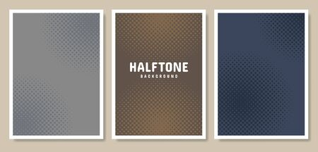 Pop Art Style Posters set. Halftone circle in color background. Template for cover, flyer, poster, presentation. Vector illustration. Çizim