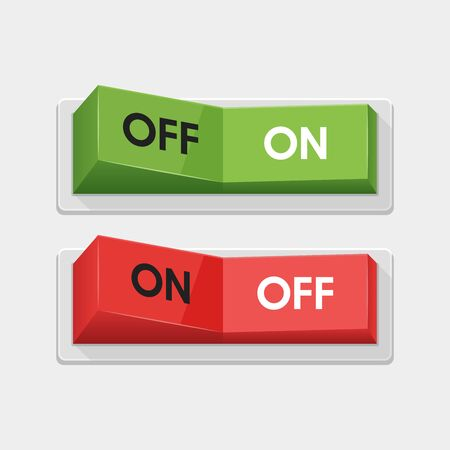 Realistic toggle switch. White switches with backlight, onoff - position. Vector illustration. Çizim