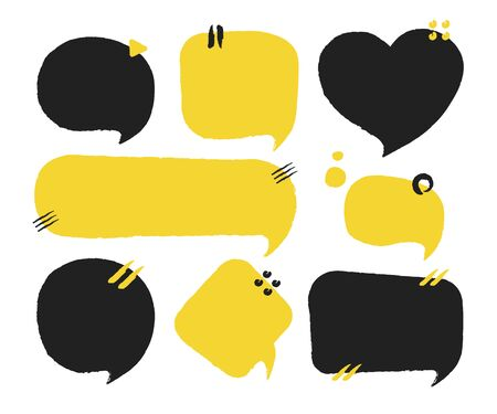 Hand drawn set of speech bubbles. Vector illustration for stickers.