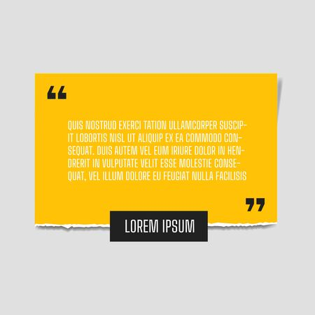 Vector illustration of paper sheet with profound yellow paper quote attached to white wall.