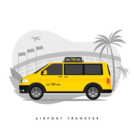 Shuttle Services Flat Vector Cartoon Illustration. Transfer. Taxi Riding on Road, Airport Building, Plane Taking Off Isolated Drawing. Terminal. Cityscape. Transport Rental. Automobile, Cab. Çizim