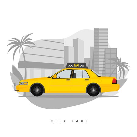 Vector illustration of yellow taxi cab on city with skyscrapers and tower with palm trees.