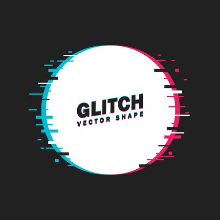 Geometric circle banner with glitch effect and shining lights. Vector illustration. Dark background.
