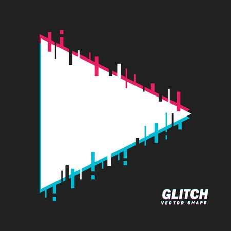 Glitched Triangle Shape. Distorted Glitch Style Modern Background. Glow Design for Graphic Design - Banner, Poster, Flyer, Brochure, Card. Vector Illustration.