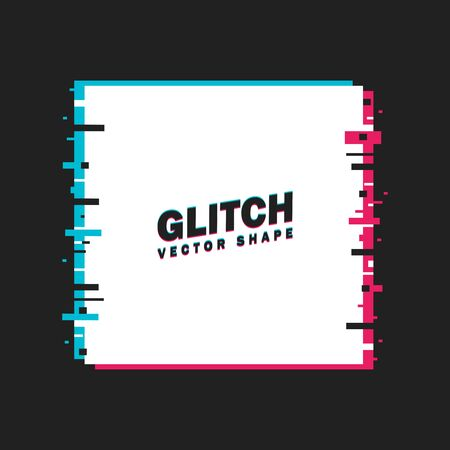 Glitched Square Frame. Distorted Glitch Style Modern Background. Glow Design for Graphic Design - Banner, Poster, Flyer, Brochure, Card. Vector.