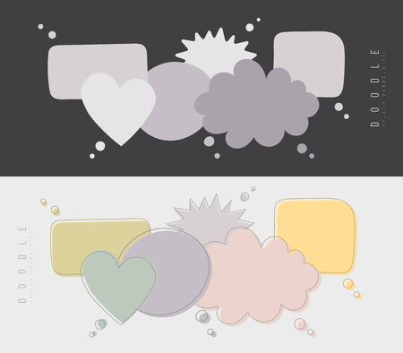 Speech bubbles doodle in different colors isolated on dark and light background. Chat banner template. Discussion concept. Vector illustration.