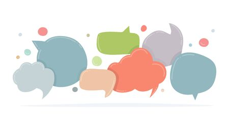 Speech bubbles doodle in different colors isolated on white. Chat banner template. Discussion concept. Vector illustration. Çizim