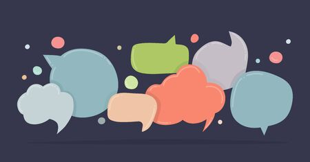 Speech bubbles doodle in different colors isolated on dark background. Chat banner template. Discussion concept. Vector illustration.