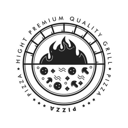 Pizza grill circle badge with hot brick oven and flame. Vector illustration. Vector Illustratie