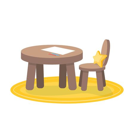 Kids zone, little table and chair for painting, childrens creativity. Isolated illustration on a white background.