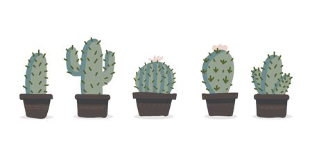 Cute hand drawn vector cactuse in the pots set. Vector illustration Çizim