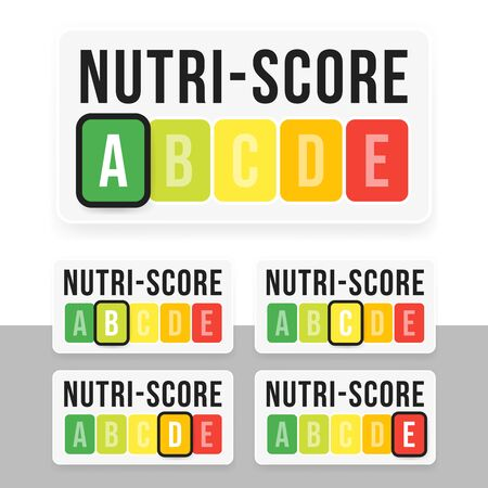 Nutri-Score system in France. Sign health care for packaging. Vector illustration