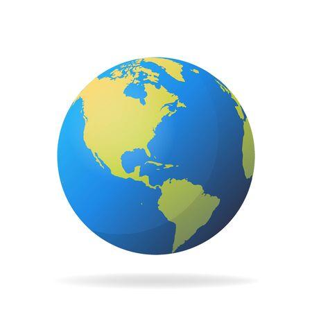 Modern 3d world map concept isolated on white background. World planet, vector earth sphere illustration. Vektorgrafik
