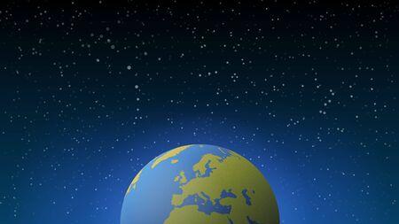 Blue shining vector Earth in space. Vector banner illustration Иллюстрация