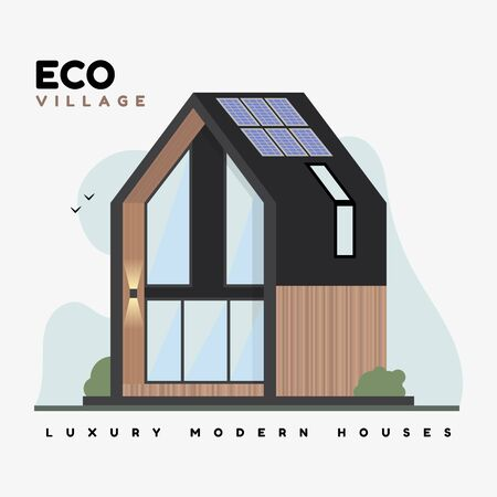 Luxury modern houses. Vector flat illustrations. Eco village contemporary architecture building. Beautiful brown country house with large windows, solar panels, ecological landscape.