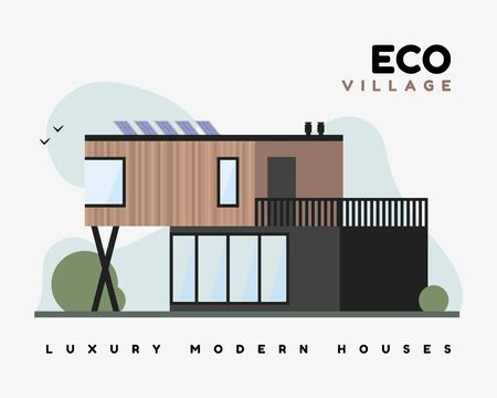Eco village flat vector illustration. Luxurious modern houses with smart energy on solar panels, with outdoor balcony and ecological design villa.
