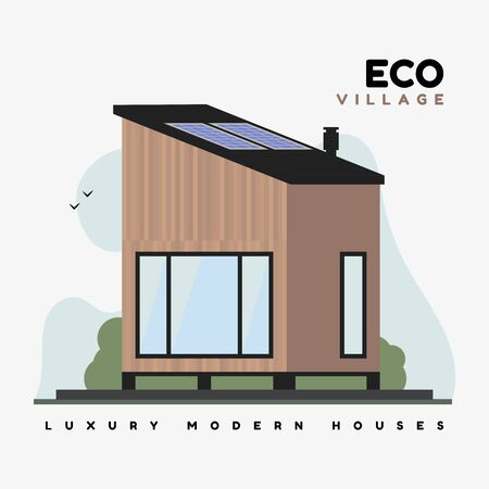 Eco village vector flat illustration. Luxurious modern houses with smart energy on solar panels, with large windows, flat roof and ecological design.