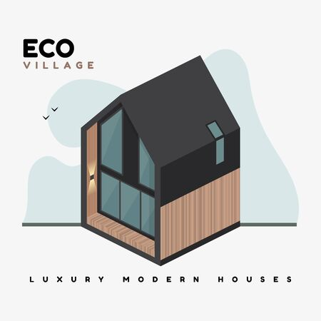 Luxury modern houses. Isometric vector flat illustrations. Eco village contemporary architecture building. The property. Beautiful country house with large windows, ecological design. Banque d'images - 150151947