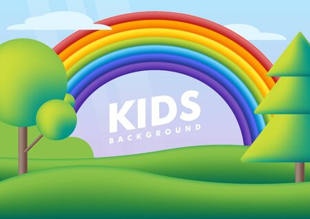 Kids background. Vector flat illustrations. Cute landscape with rainbow on green valley. Colorful scenery with rainbow, trees on the summer green meadow for children's bedroom.