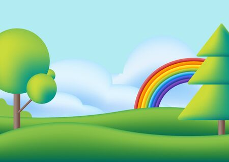 Cute scape with rainbow, trees and green meadow. Vector flat illustration. Funny dream. Kids background with rainbow, bright sky, green valley and trees. Cartoon style for nursery.
