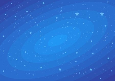 Stars on dark blue cosmic backdrop. Vector flat illustrations. Funny baby dream. Beautiful pattern cosmic space with stars on night starry sky. Decorative endless texture.  イラスト・ベクター素材