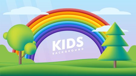 Kids background vector flat illustration. Fantastic landscape with rainbow on green valley. Multicolor cute scenery with rainbow, trees on spring green meadow for children's sites or printing. Ilustração