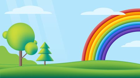 Fantastic scape with rainbow on green meadow. Vector flat illustration. Kids background with rainbow, bright sky, green valley and trees for children's sites or printing.