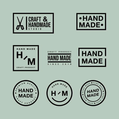 Linear badges and design elements vector set. Hand made, craft handmade studio, craft product, premium quality. Modern and stylish badges of different shapes on green backdrop. Illustration