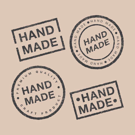 Linear badges and design elements vector set. Hand made, craft handmade studio, craft product, premium quality. Modern and stylish badges of different shapes on brown backdrop.