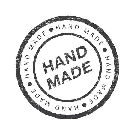 Hand made - circle round grunge stamp or insignia. Vector flat illustrations. Modern and stylish badge with an inscription on white background. Illustration