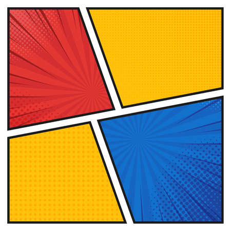 Comics book background in different colors. Blank template background. Pop-art style.