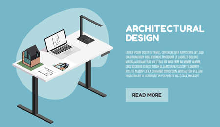 Architect isometric desktop with tools including laptop, lamp and building plan, architectural model of house, render document. Vector illustration
