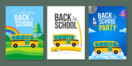 Cute cartoon school bus poster template set. Back to school text sign. Color background. Vettoriali