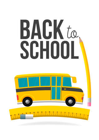 Cute cartoon school bus with pencil, ruler, eraser poster template. Back to school text sign. White background.