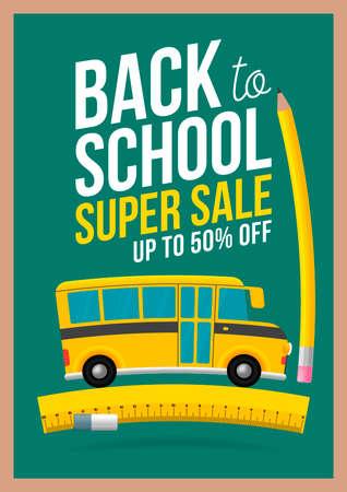 Back to School Sale Sign. School Bus rides on ruler. Blackboard background. Sale poster flyer design template. Vettoriali