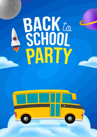 Cute cartoon school bus with color. Cloud space background. Back to school text sign. Vettoriali