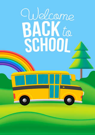 Vector yellow school bus on the road. Nature background with rainbow, clouds, trees. Vector poster design illustration Vettoriali