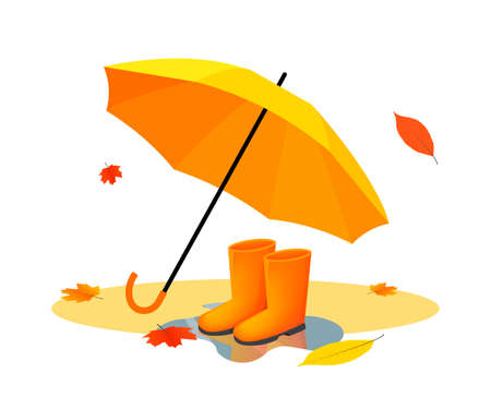 Orange umbrella and rubber boots on puddle after rain with autumn leaves. Vector flat illustrations. Autumn rainy day. Nice walk in rubber cute boots with orange umbrella.
