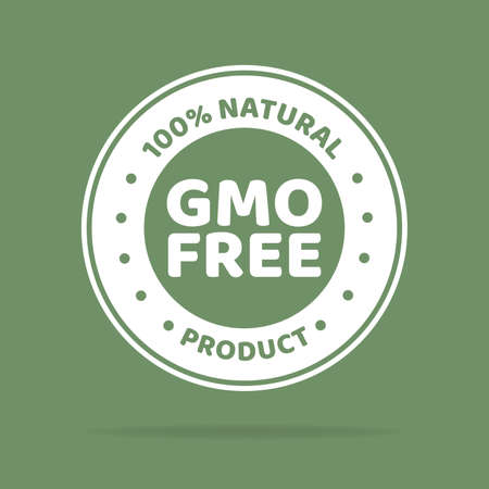Vector illustration of white colored GMO free emblems. Green background.
