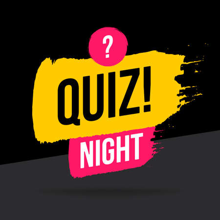 Quiz Night time icon, emblem, in brush stroke style. Vector flat illustration. Pink and black element design with question button for brain game and online quiz on black.