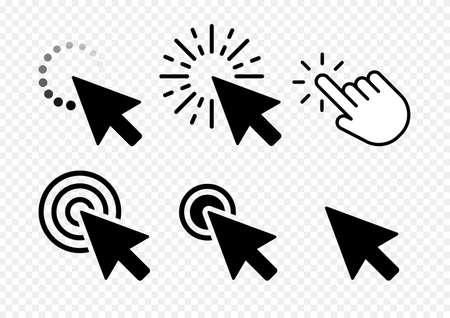 Computer mouse click cursor black arrow icons set. Vector illustration. Transparent background Vettoriali