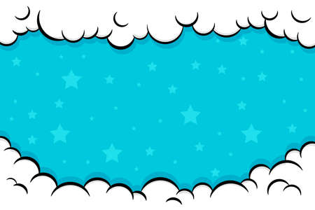 Cute Pop art Comic Background with Cloud and shine bright Vector Illustration. Comic book cartoon speech bubble for text. Cartoon puff cloud background for text template. Kids background with stars.