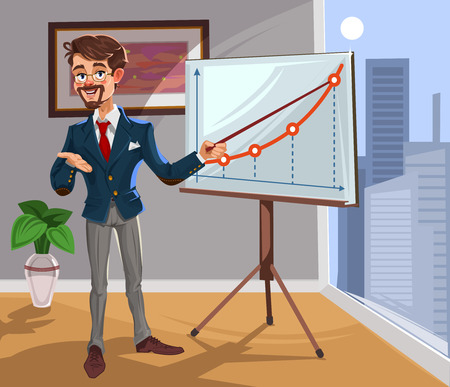 3d manager: 3d businessman in a presentation. The manager makes the report.