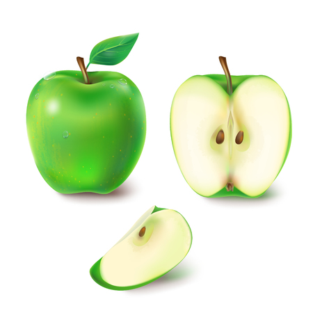 illustration of a juicy green apple. A set of images of the whole and sliced apple