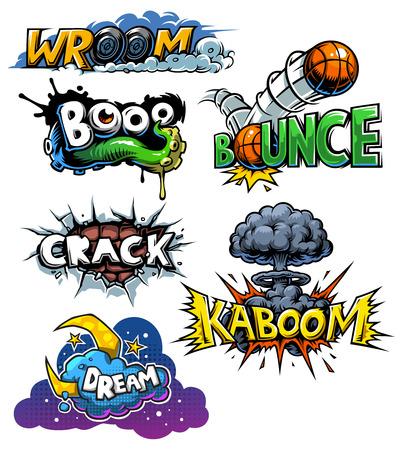 set of comics icons. Explosion bubbles. Comic book explosion set Illustration