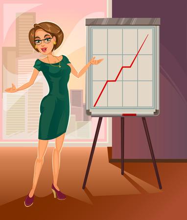 Mujer de negocios en vidrios que presentan informe. Ilustración de vector