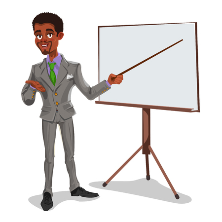 3d manager: Vector 3d businessman in a presentation. The manager makes the report.