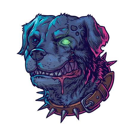 wścieklizna: ilustracji wektorowych złych psów szczerząc zęby szalonych Ilustracja