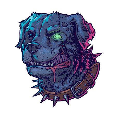 madness: Vector illustration of evil mad dog grinning teeth